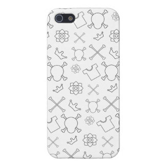 black and white Skull and Bones pattern iPhone 5 Case