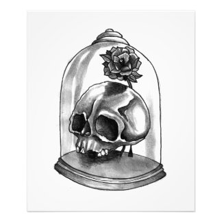Black and White Skull and Rose Art Print (large)