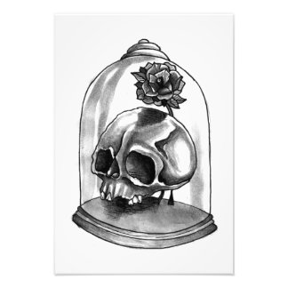 Black and White Skull and Rose Art Print (small)