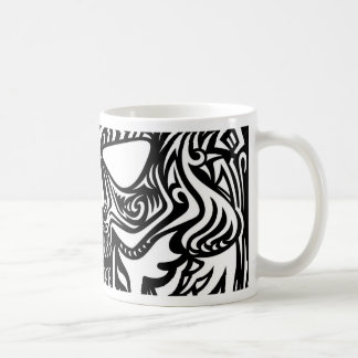 Black and white skull coffee mug