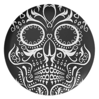 Black and White Skull /  Day of the Dead Plate