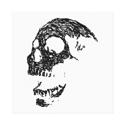 Black and White Skull Design. Gallery Wrapped Canvas