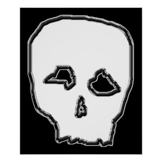Black and White Skull. Poster
