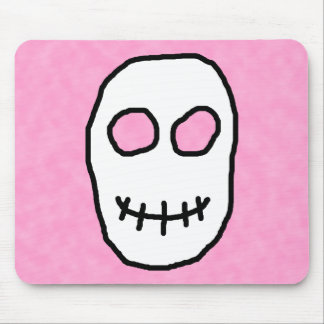 Black and White Skull. Primitive Style. Mouse Pad