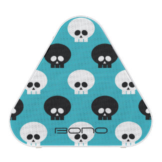 black and white skulls with name over blue