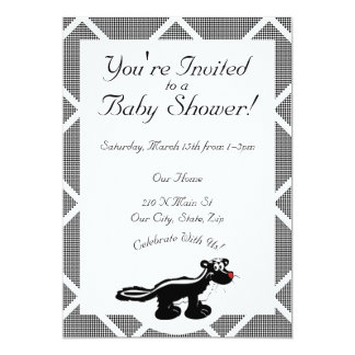 Black and White Skunk Baby Shower Card