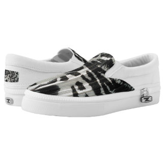 Black and White Slip Zipz  On Shoes Printed Shoes