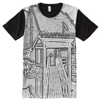 black and white small building All-Over print T-Shirt