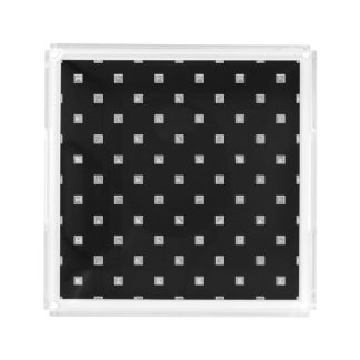 Black and White Small Geometrical Pattern Acrylic Tray