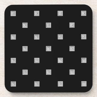 Black and White Small Geometrical Pattern Coaster