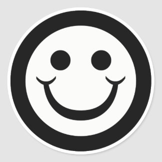 BLACK AND WHITE SMILEY FACE ROUND STICKER