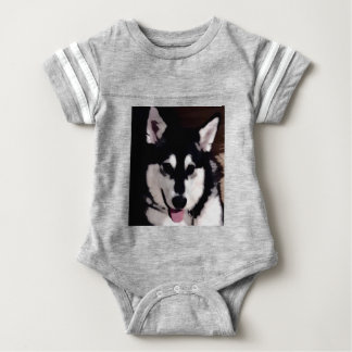 Black and white smiling Alaskan Malamute Baby Bodysuit
