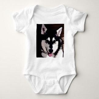 Black and white smiling Alaskan Malamute Baby Bodysuit