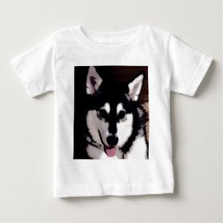 Black and white smiling Alaskan Malamute Baby T-Shirt