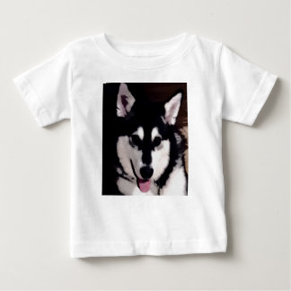 Black and white smiling Alaskan Malamute Baby T-Shirt