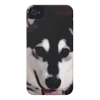 Black and white smiling Alaskan Malamute Case-Mate iPhone 4 Cases