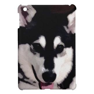 Black and white smiling Alaskan Malamute iPad Mini Covers