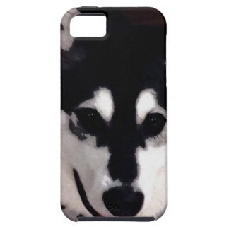 Black and white smiling Alaskan Malamute iPhone 5 Case