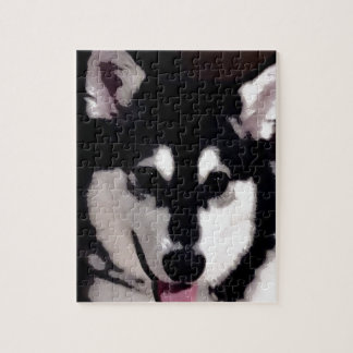 Black and white smiling Alaskan Malamute Jigsaw Puzzle