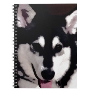 Black and white smiling Alaskan Malamute Notebook
