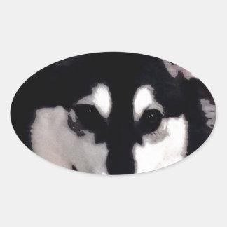 Black and white smiling Alaskan Malamute Oval Sticker