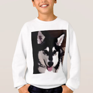 Black and white smiling Alaskan Malamute Sweatshirt