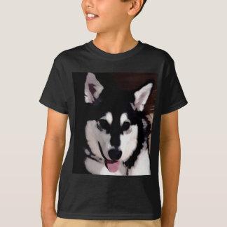 Black and white smiling Alaskan Malamute T-Shirt