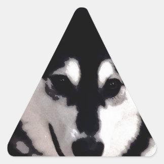 Black and white smiling Alaskan Malamute Triangle Sticker