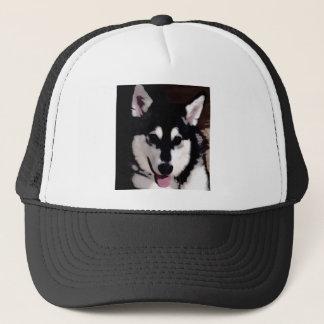Black and white smiling Alaskan Malamute Trucker Hat