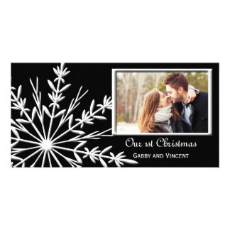 Black and White Snowflake First Christmas Together Customized Photo Card
