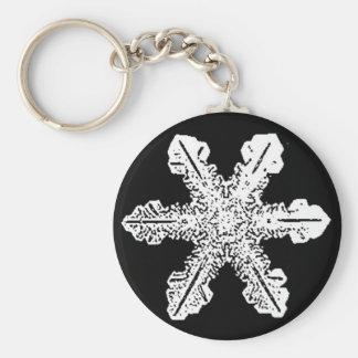 Black and White Snowflake Keychain