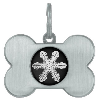Black and White Snowflake Pet Tag