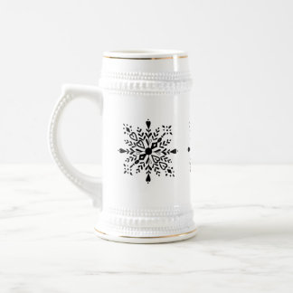 Black and white snowflake winter design beer stein