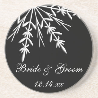 Black and White Snowflake Winter Wedding Coaster