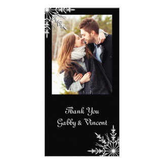 Black and White Snowflake Winter Wedding Thank You Photo Card Template