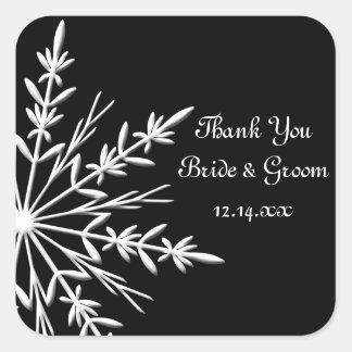 Black and White Snowflake Winter Wedding Thank You Square Sticker