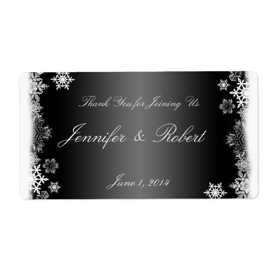 Black and White Snowflakes Wedding Water Label