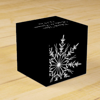 Black and White Snowflakes Winter Wedding Favour Box
