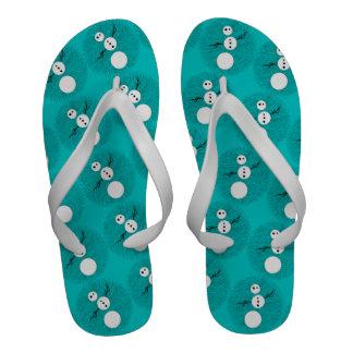 Black And White Snowman Winter Men s Beach Shoe Sandals