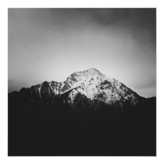 Black and white snowy mountain poster