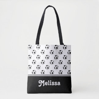 Black and White Soccer Balls | Personalised Tote Bag
