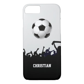 Black and White Soccer Fans and Ball iPhone 7 Case