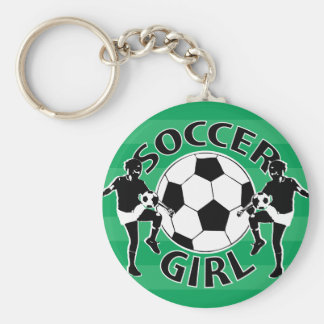 Black and white soccer girl design key chains