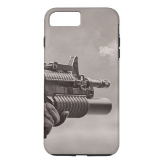 Black and White Soldier Sub Machine Gun Masculine iPhone 7 Plus Case