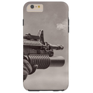 Black and White Soldier Sub Machine Gun Masculine Tough iPhone 6 Plus Case