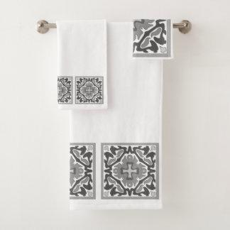 Black and White Spanish Tiles Bath Towel Set