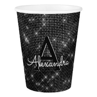 Black and White Sparkle Monogram Birthday Paper Cup