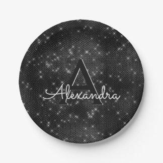 Black and White Sparkle Monogram Birthday Paper Plate