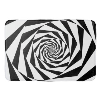 Black and White Spiral Bath Mat
