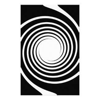 Black and White Spiral Design. Customised Stationery